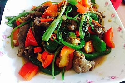双椒炒牛展肉