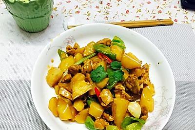 土豆焖鸡肉