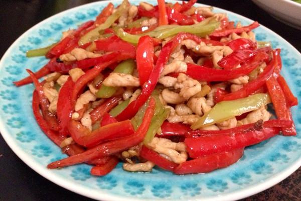 红椒肉丝的做法