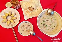 滑润的香菇鸡肉粥~的做法