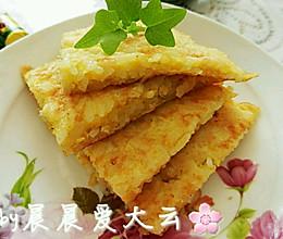 【胃口大开的美味早餐】☞之一米饭鸡蛋饼的做法