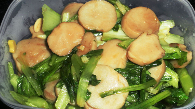 杏鲍菇炒小白菜的做法