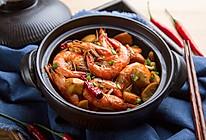 海虾煲杏鲍菇的做法