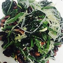 凉拌菠菜粉丝花生米