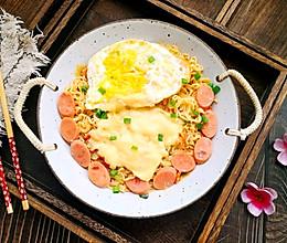 #换着花样吃早餐#好吃到汤渣都不放过的奶香芝士方便面的做法