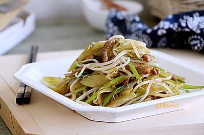 绿豆芽炒芹菜