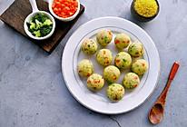 #一道菜表白豆果美食#不加一滴水的小米杂蔬丸子的做法