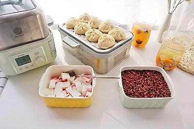 超简单的草莓牛奶冻❗️低脂杂粮饭+鲜肉小笼包+竹荪牛肉汤