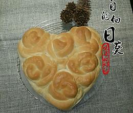 520原创《满满的爱在心中》椰蓉馅玫瑰花面包附手工揉面图解