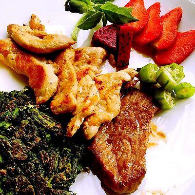 低脂健身餐(全麦鸡蛋菠菜饼+牛肉+鸡胸)