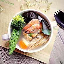 奶香海鲜汤#樱花味道#