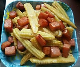 玉米笋炒火腿的做法