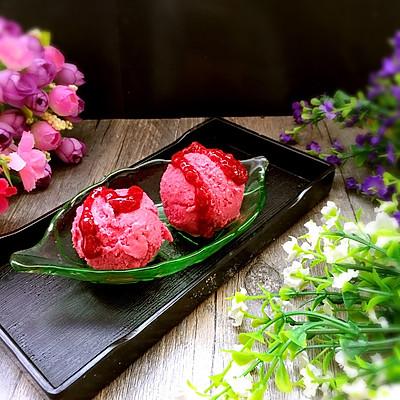只用酸奶和果酱做的树莓酸奶冰激凌