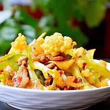 干锅有机花菜炒肉片