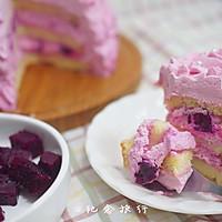 粉紫色的恋人--红心火龙果奶油蛋糕的做法图解11