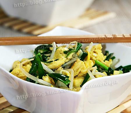 韭菜鸡蛋炒豆芽
