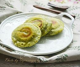 艾草豆沙煎饼的做法