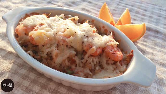 两餐厨房丨冬日意式甜虾焗饭的做法【两餐原创】