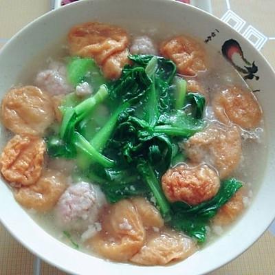 肉圆油面筋青菜汤