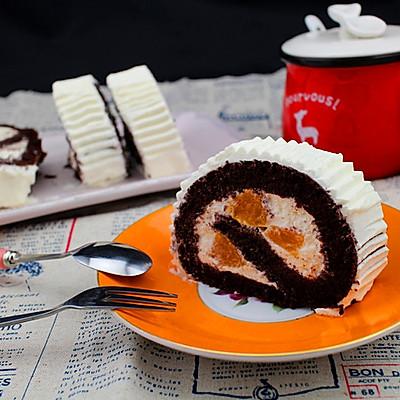 可可黄桃夹心蛋糕卷