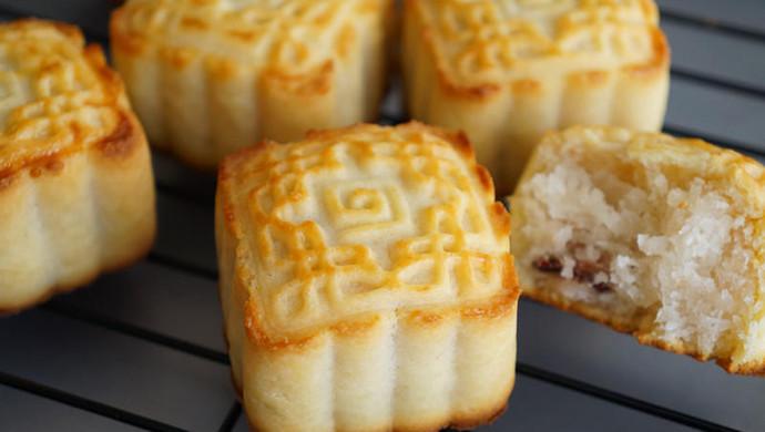 曲奇椰蓉蔓越莓月饼,外酥内软好调戏,比广式月饼好吃N+1倍