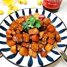 #福气年夜菜#年夜饭菜单——孜然土豆火腿肠
