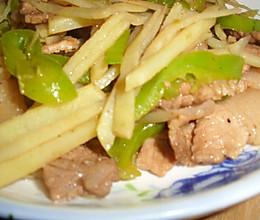 青椒土豆丝炒肉片的做法