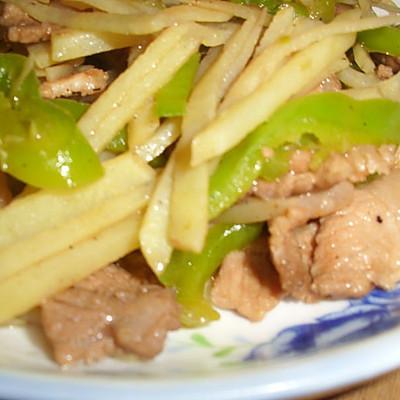 青椒土豆丝炒肉片