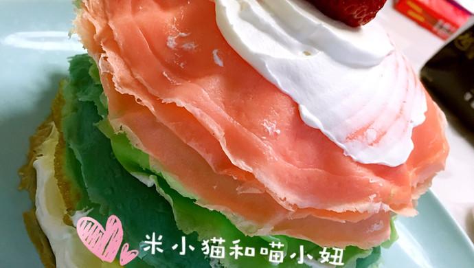 草莓彩虹千层蛋糕(追逐天空之美)
