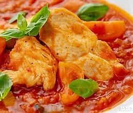 西红柿罗勒炖鸡胸肉|清爽减脂的做法