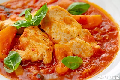 西红柿罗勒炖鸡胸肉|清爽减脂