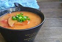 番茄猪肝糯米粉浓汤的做法