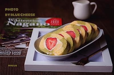 抹茶双色草莓蛋糕卷