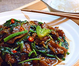 菠菜蚝油牛肉的做法