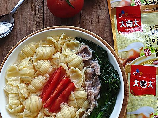 大喜大牛肉粉试用之:牛肉味清汤海螺面的做法