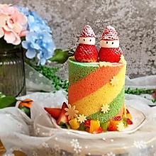 梦幻彩虹蛋糕卷#令人羡慕的圣诞大餐#