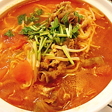 番茄肥牛金针菇粉丝煲