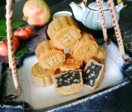 #橄享国民味 热烹更美味#健康营养的芝麻红豆松子馅月饼的做法