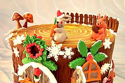 圣诞节树屋翻糖蛋糕