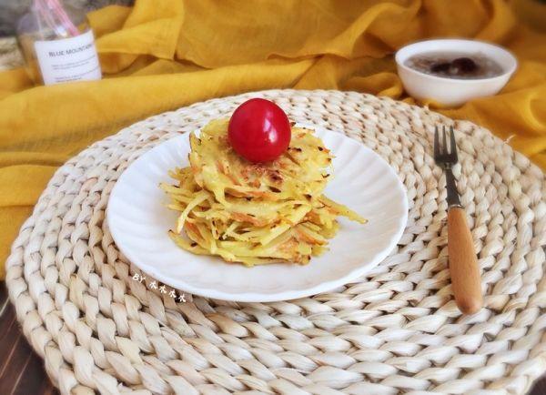 快手早餐~土豆丝鸡蛋饼的做法
