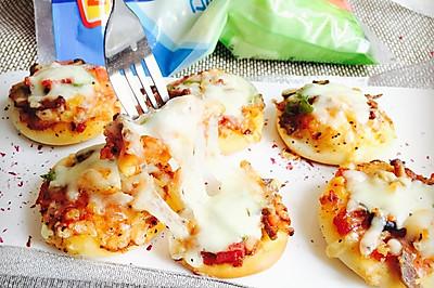 迷你披萨#百吉福马苏里拉奶酪#