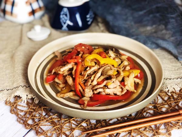 彩椒肉丝平菇的做法