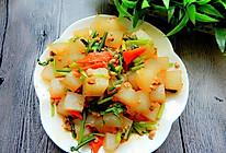 青菜肉末炒凉粉的做法