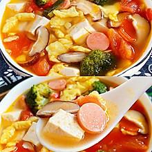 汤鲜味美,好吃到哭的番茄西兰花豆腐汤~