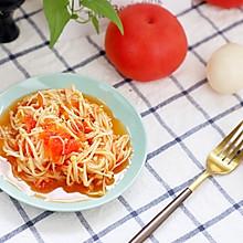 番茄烩金针菇,低脂好味零厨艺不失败#花10分钟,做一道菜!#