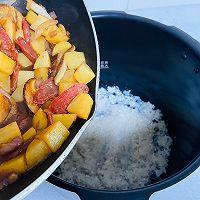 #憋在家里吃什么#香菇土豆腊肠焖饭的做法图解16