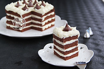 可可奶油kisses方蛋糕