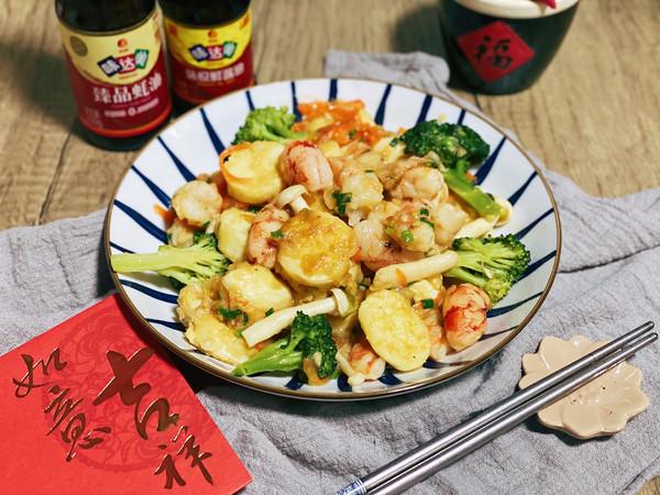 三鲜日本豆腐炒虾仁的做法
