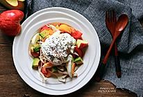 快手健康减脂【鸡丝牛油果鸡蛋蔬果沙拉】#急速早餐#的做法