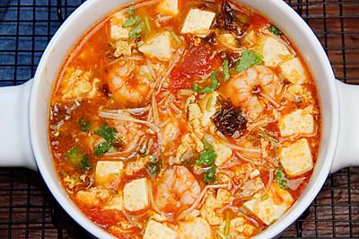 超级鲜的减脂虾仁番茄豆腐汤!10分钟爆好喝快手瘦身汤!